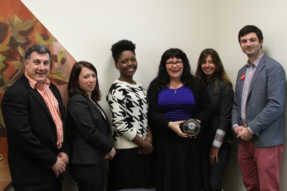 PHOTO CAPTION: Canadian Mentorship Challenge award presented to Dawson College by Futurpreneur Canada and Startup Canada