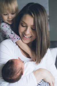 Mother and Founder of VONBON apparel with her children.