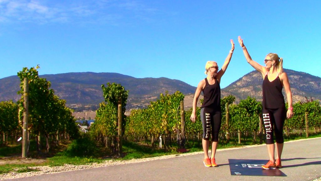 Chelsea and Mel of HIITit.ca highfiving