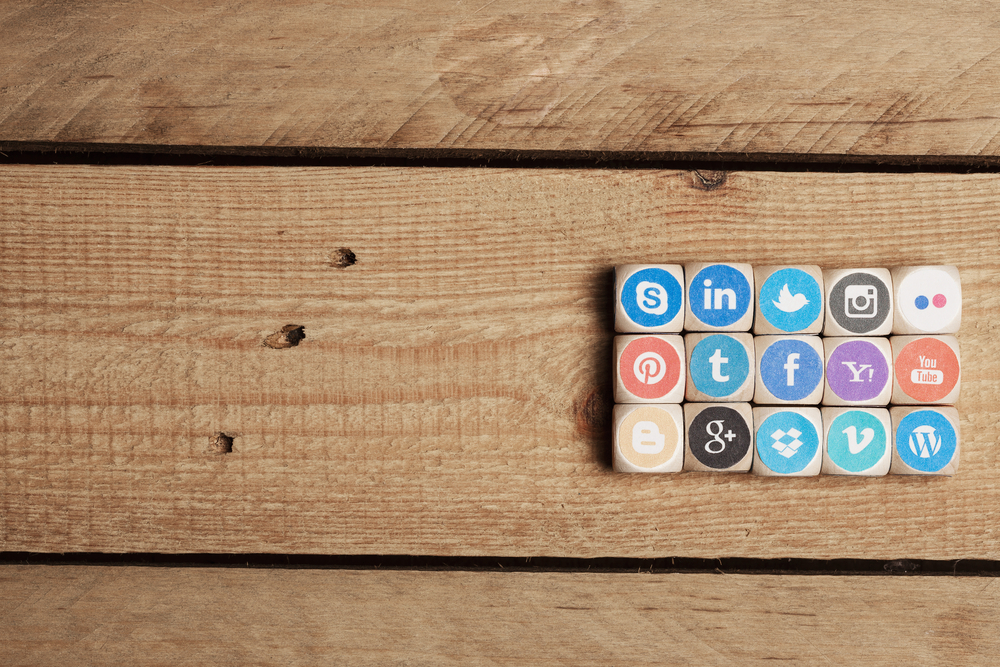 Blocks with social media icons on desk