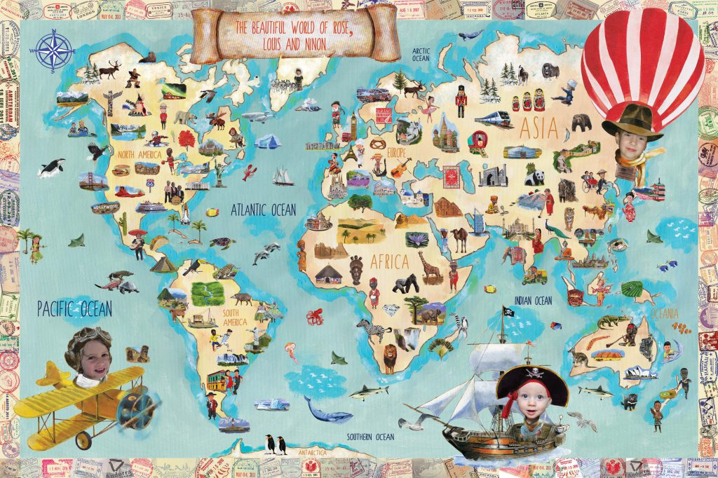 The Yellow Toucan Customized Map of the World
