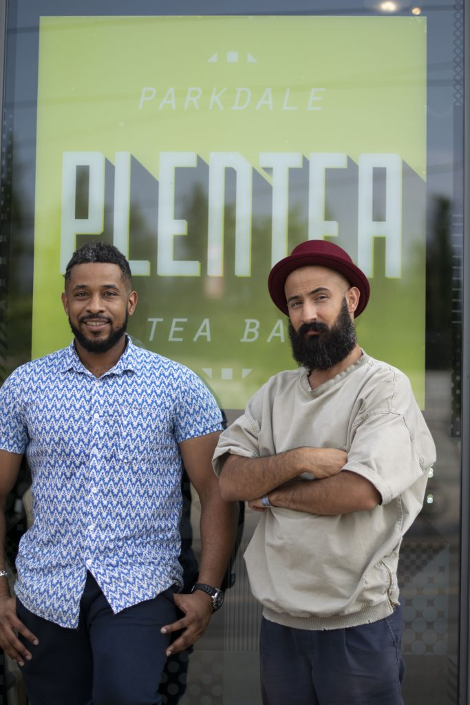 Tariq and Mohammed outside their Plentea startup tea bar located in the heart of Toronto's Parkdale neighbourhood.
