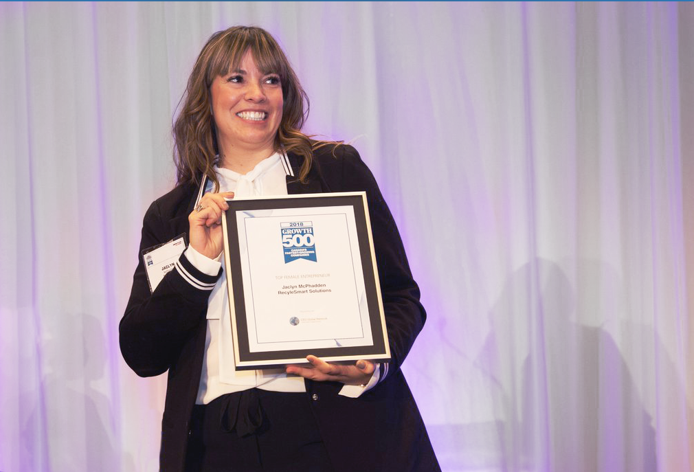 Jaclyn McPhadden, co-founder of RecycleSmart, is awarded Growth 500 Female Entrepreneur of the Year 2018