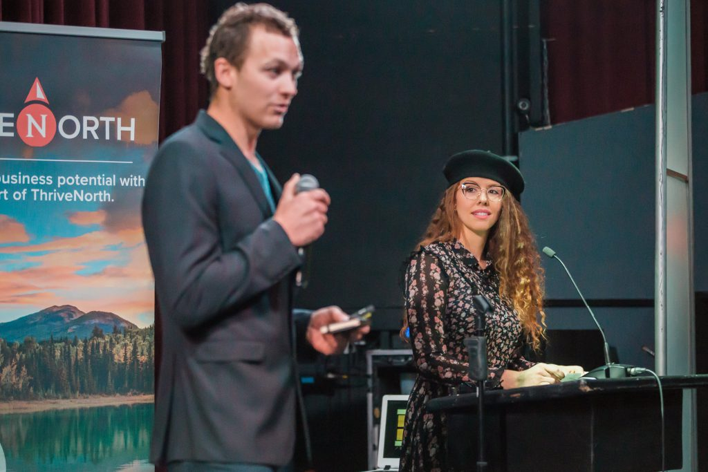 ThriveNorth Green Eggs Market Sarah and Lyle at Business Challenge 2018 presenting