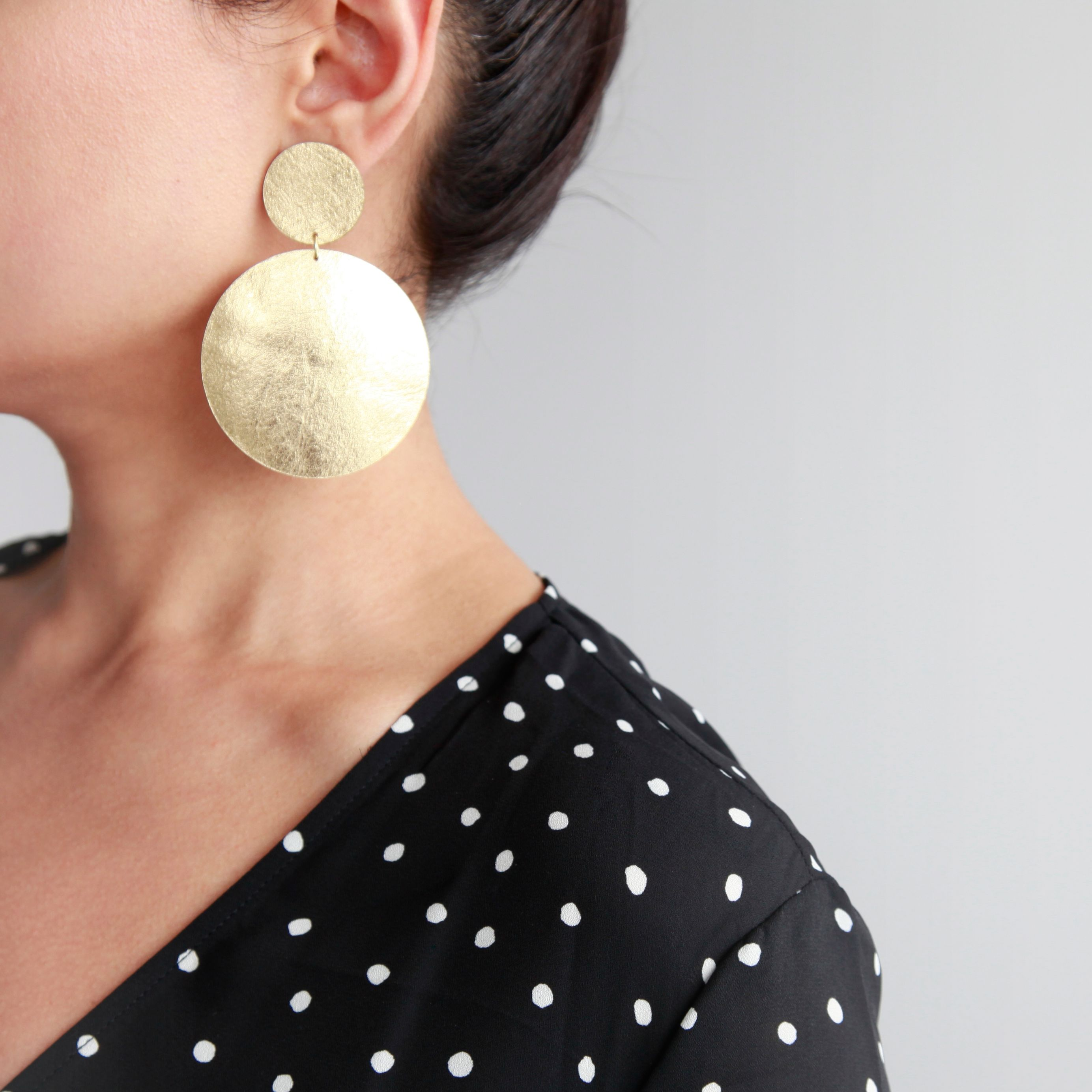 Large Gold Leather Double Disc Earrings